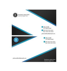Business Card Template blue black gradient vector image