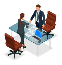 Businesspeople handshaking after negotiation or vector