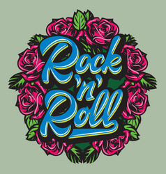 Calligraphic lettering rock and roll in a frame vector
