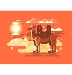Camel in desert flat vector