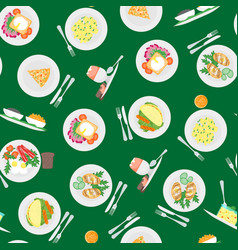 cartoon breakfast menuseamless pattern background vector image