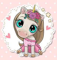 cartoon unicorn with a flowers on a pink vector image