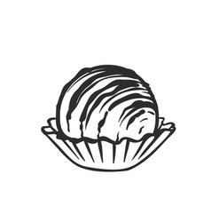 Chocolate candie monochrome outline icon vector