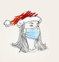 christmas at coronavirus woman portrait wearing vector image