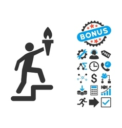 Climbing Leader With Torch Flat Icon with vector image