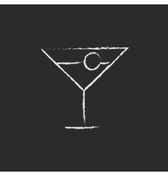 Cocktail glass icon drawn in chalk vector image
