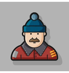 contour icon man in down jacket and hat vector image