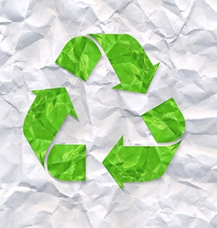 Crushed Paper With Recycle Sign vector