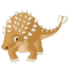 Cute ankylosaurus cartoon vector image