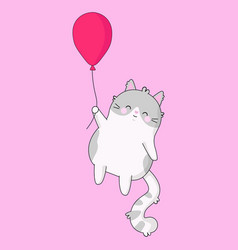 cute sweet a cat with pink balloon vector image