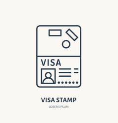 Documents identity flat line icon visa vector