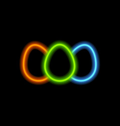 Easter eggs with neon lamps vector