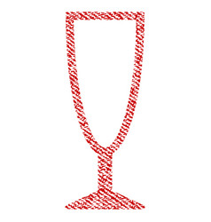 Empty wine glass fabric textured icon vector