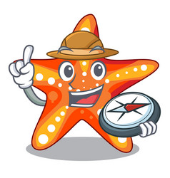 Explorer starfish isolated with in the cartoons vector