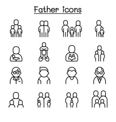 father icon set in thin line style vector image