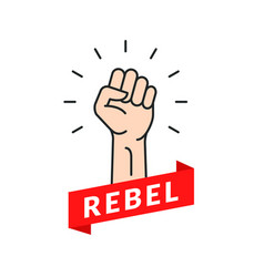 Fist hand power rebel logo protest strong fist vector
