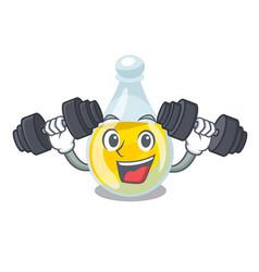 Fitness sesame oil in a cartoon bottle vector