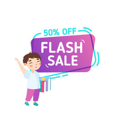 flash sale school discount banner studying vector image