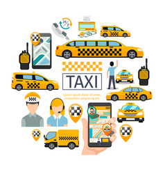 flat taxi service round concept vector image