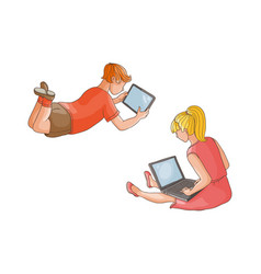 Flat teen boy girl using tablet pc isolated vector