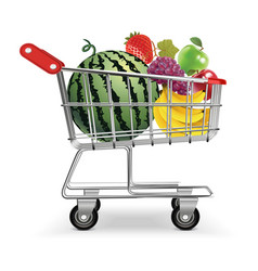 Fruits in trolley vector