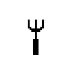 Gardening rake pixel icon tool vector