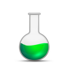 glossy realistic chemical flask with bright green vector image