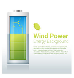 green energy concept background with wind turbine vector image