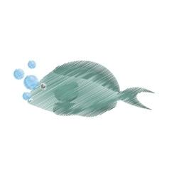 Hand drawing fish aquarium ornament habitat vector