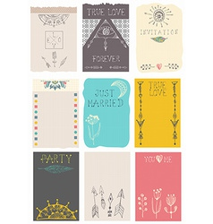 Hand drawn collection of floral cards vector