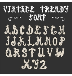 Hand drawn trendy font vintage alphabet vector image
