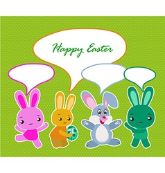 Happy Easter card with eggs and rabbits vector