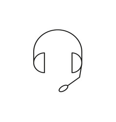 headphones with microphone linear icon vector image