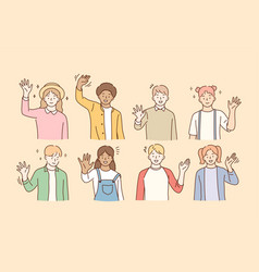 hello greeting mixed race friendship concept vector image