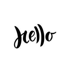 Hello hand lettered word modern brush lettering vector
