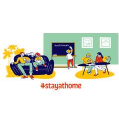 Homeschooling on quarantine covid19 19 concept vector