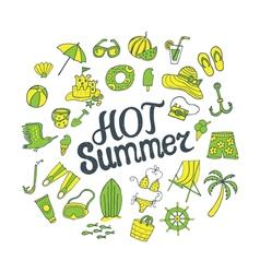 hot summer green yellow vector image