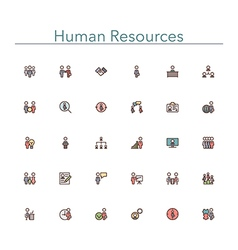 Human resources colored line icons vector