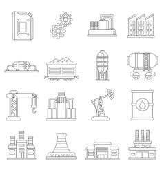 Industry icons set outline style vector