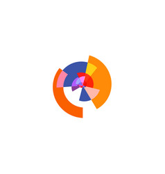 isolated abstract colorful pie chart logo round vector image