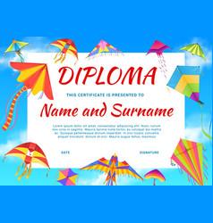 Kindergarten diploma certificate with color kites vector
