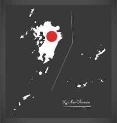 kyushu-okinawa map of japan with japanese vector image