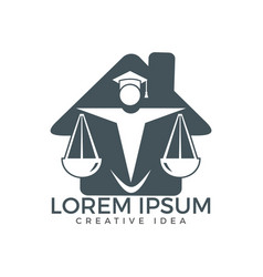 Law house logo design property law logo vector