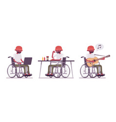male black young wheelchair user with laptop vector image