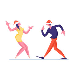 man and woman couple in santa hats dance isolated vector image