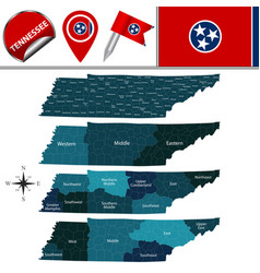 Map of tennessee with regions vector