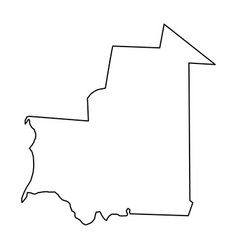Mauritania map of black contour curves on white vector
