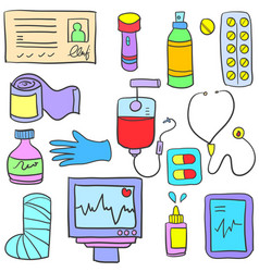 Medical element style of doodles vector