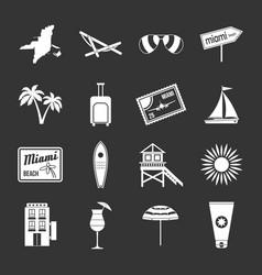 Miami icons set grey vector