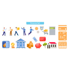 money transactions flat set vector image